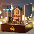 DIY Artesanato De Madeira casa de Bonecas Em Miniatura casa de bonecas Kit -- Apartamento & Dust cover & Todos Os móveis/instrução Inglês