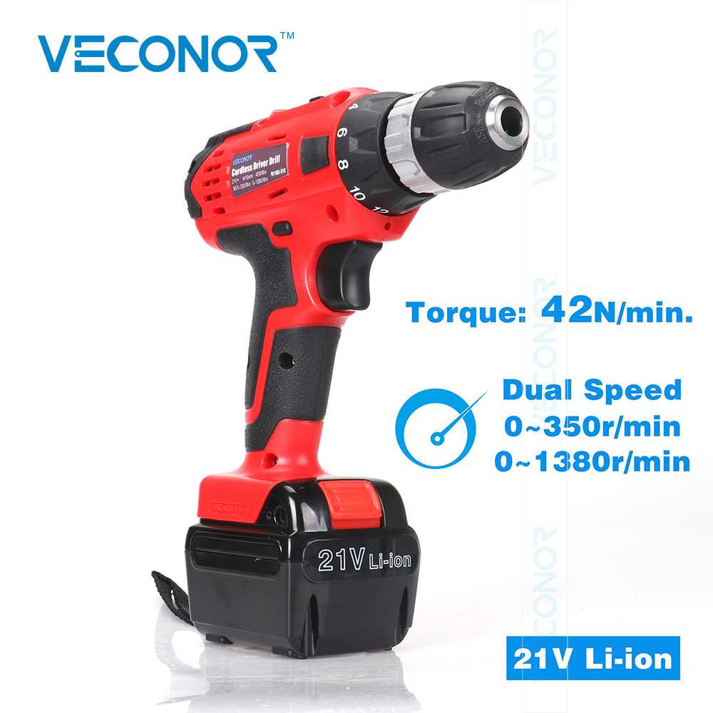 Veconor 21V high quality Li-ion battery cordless driver drill power tools electric drill dual speed No-load speed max 1380r/min 1 pc 18v 4000mah rechargeable battery pack power tools batteries replacement cordless for bosch drill bat610 li ion