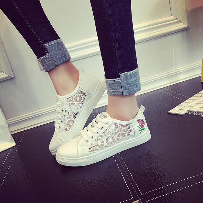 2017 Spring Summer Women White Shoes Lace UP Mesh Breathable Lace Student Flats Driving Walking Shoes Female Z832 Tenis Feminino women canvas breathable vulcanize shoes lace up classic fashion white red flats summer spring autumn students school style