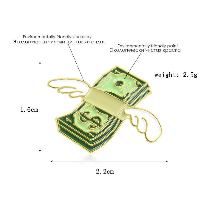 Cartoon Mini Banknoten Emaille Pins Grün Dollar Engel Flügel Symbol Brosche männer und frauen Gestrickt Rucksack Abzeichen Zubehör