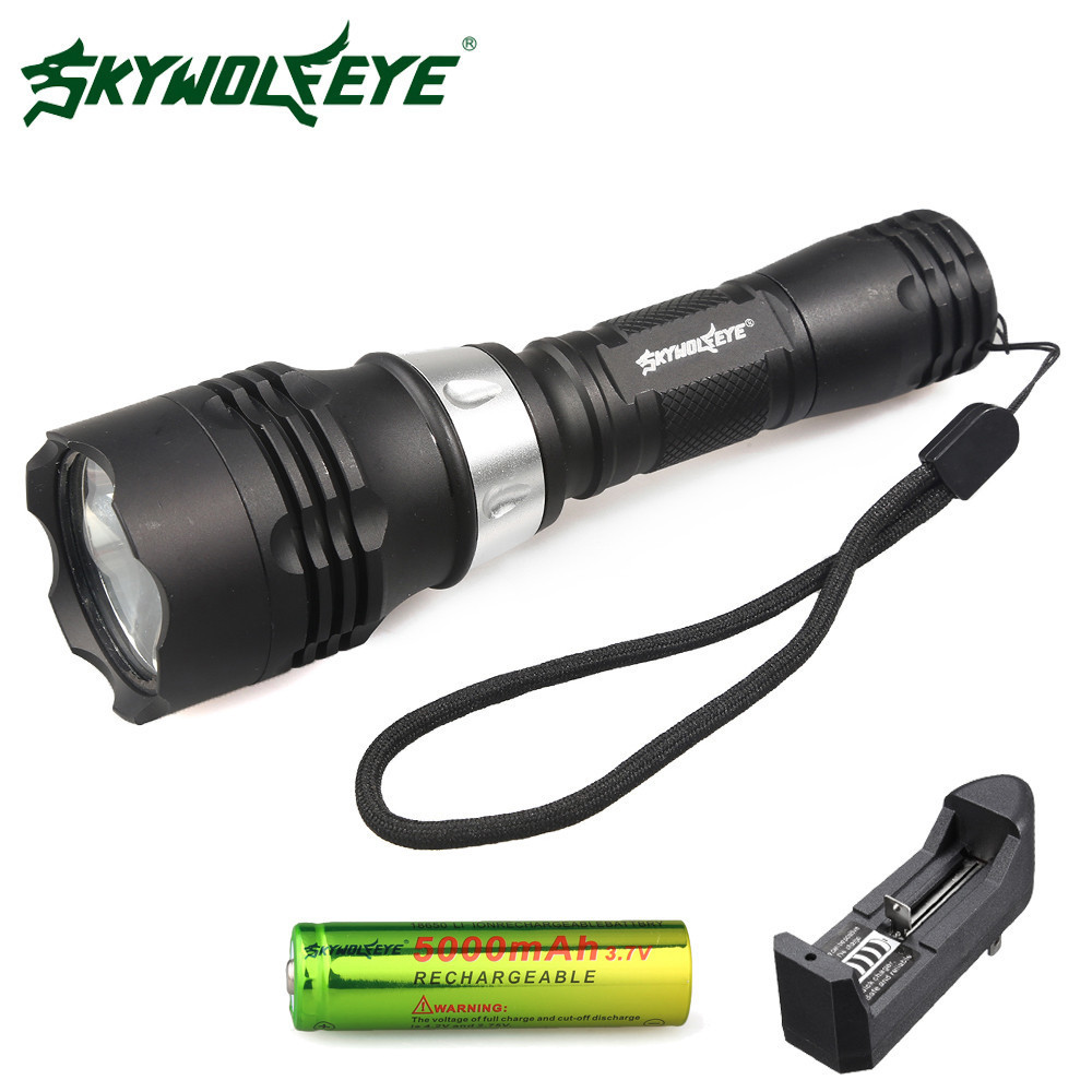 Skywolfeye LED Flashlight T6 Waterproof Scuba Diver Diving 15-20 Meter Underwater Dive Torch 18650 Rechargeable Battery Charger powerful underwater flashlight led scuba diving lanterna xml l2 waterproof led torch dive light 18650 26650 rechargeable battery