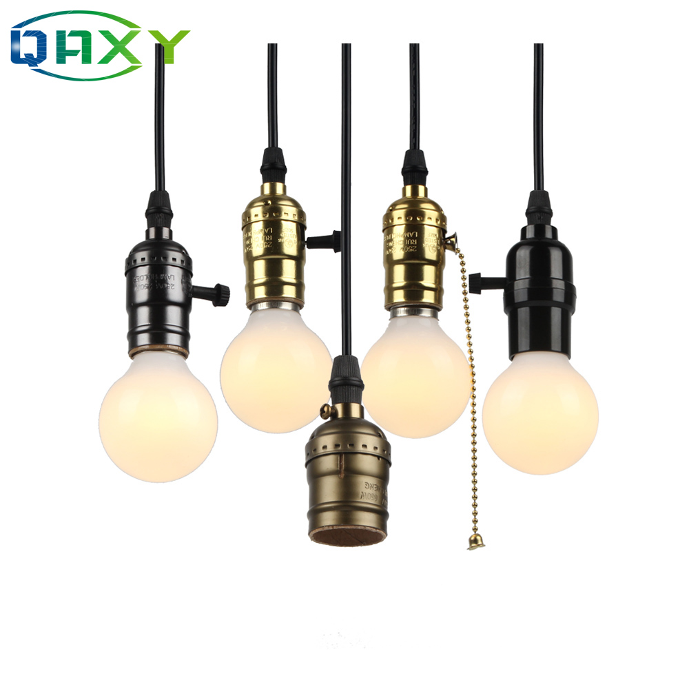 With Switch/No Switch E27/E26 110V-240V Vintage Retro Aluminum Screw Socket Pendant Lamp Base Holder Pendant Lights[DV5250]