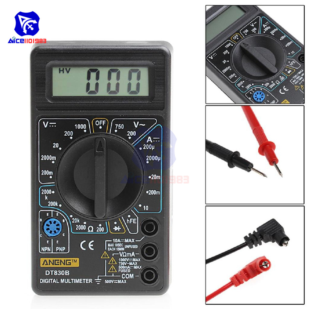 DT-830B LCD Digital Multimeter Electric AC DC Voltmeter Ammeter Ohm Tester Oscilloscopes Measurement Analysis Instrument w/ Wire