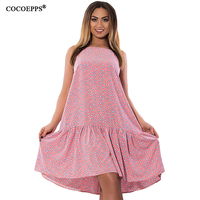 COCOEPPS New Cascading Ruffle Women Dress 2017 Big Size Floral Print Femme Spaghetti Strap Dresses Large