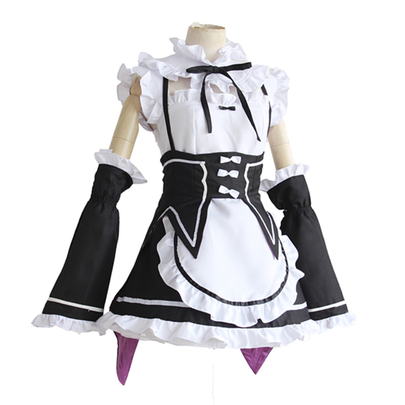 Deluxe Women's Rem Ram Costume Cosplay Anime Life In A Different World From Zero Maid Dress Halloween Adult Party Clothing