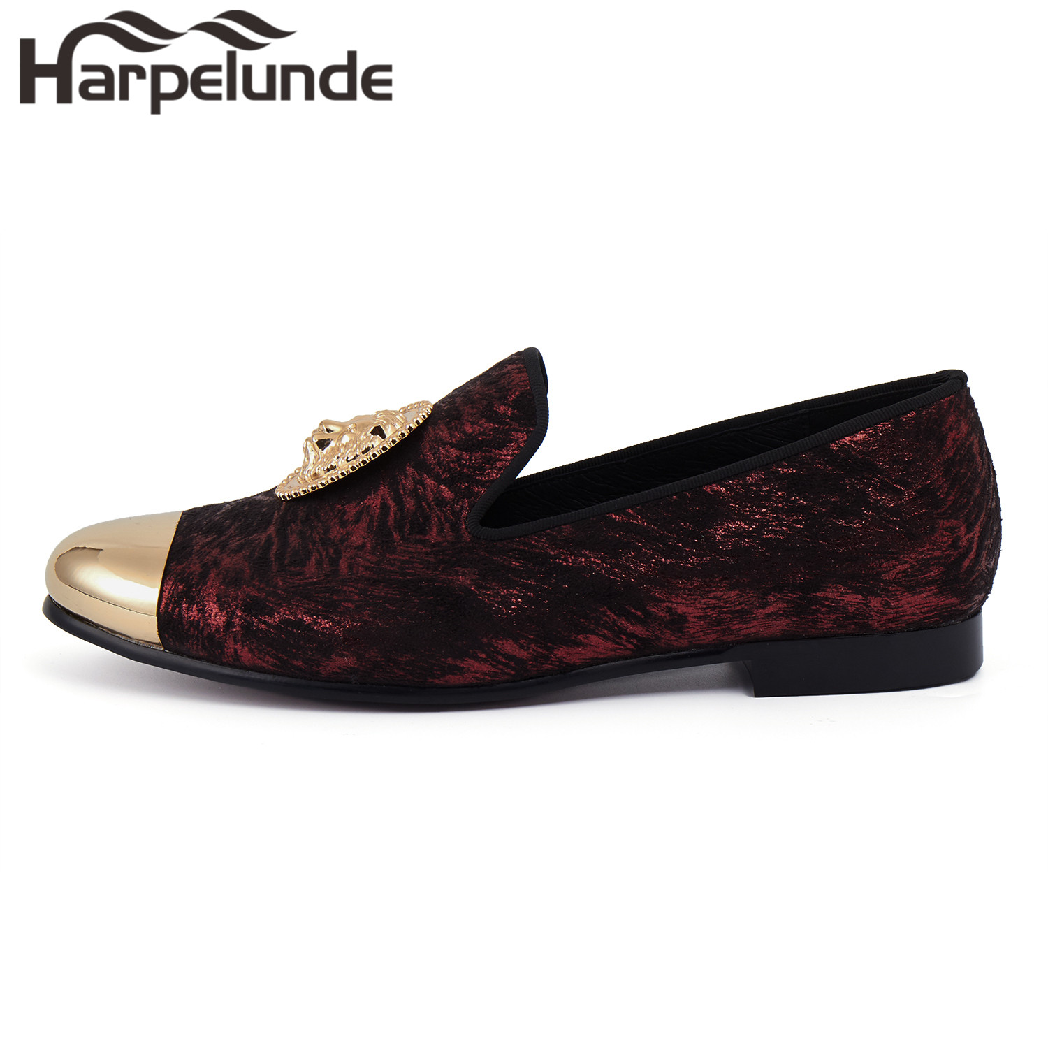 Harpelunde Animal Buckle Men Dress Loafers Printed Velvet Flat Shoes With Copper Cap Toe Size 6 To 14 in Formal Shoes from Shoes