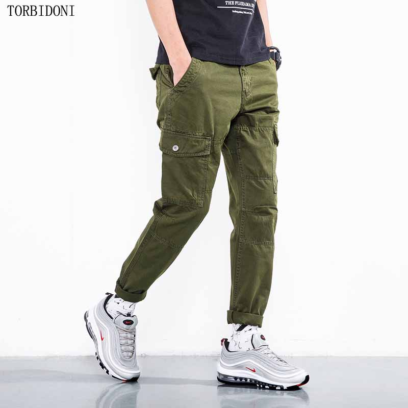 Ankle-length Cargo Pants Men Tactical Army Military Pants Cotton Combat SWAT Multi Pockets Slim Pencil Pants Casual Trousers men military tactical outdoor shirts 100% cotton breathable long sleeve shirt army multi pockets swat shooting urban sports