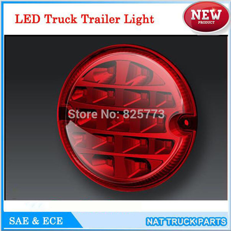 12V / 24V Rund 95mm LED Trailer Lastbilsljus Stop Turn Car Bakljus Led Light Traffic Safety Dimlampa Automobile Light ECE