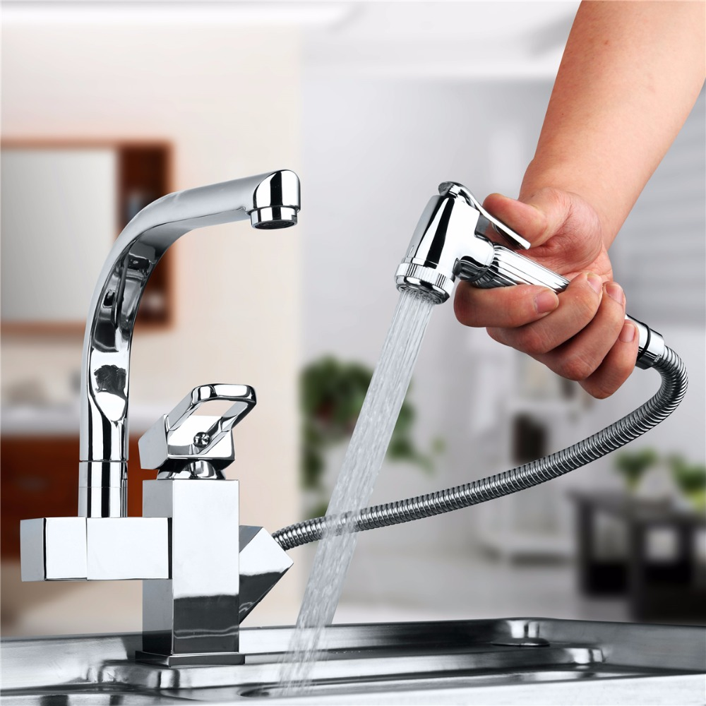 Polished Chrome Spout Kitchen Faucet Pull Out Tap Swivel Basin sink Kitchen Deck Mounted Hot And Cold Mixer Tap solid brass led swivel spout kitchen sink faucet pull out mixer tap chrome polished