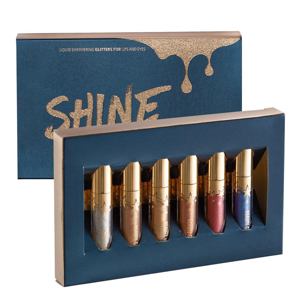 Manooby Beauty Glazed 6pcs/set Matte Lipstick Liquid Lip Gloss Makeup Moisturizer Shimmer LipglossLevre Lipstick Shining Batom 1