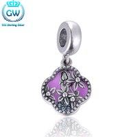 Alicia En El Pais De Las Maravillas Hollow Flower Enamel Silver 925 Charms Fits Bracelet & Necklace Brand Aimili S450