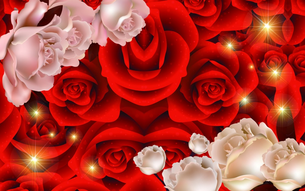 Klasik Dekorasi Rumah Bunga Mawar Merah Tirai Jendela Modern Gorden