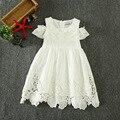 2017 verano estilo de la manera muchacha del cordón del bebé vestido infantil de la princesa muchachas del vestido del algodón ropa