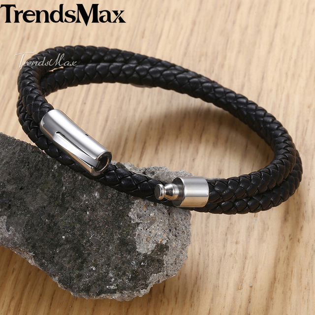 Unique 4/6mm Men's Leather Bracelet Braided Strand Stainless Steel Clasp Male Bracelet Wholesale Jewelry Valentines Gifts DLBM22
