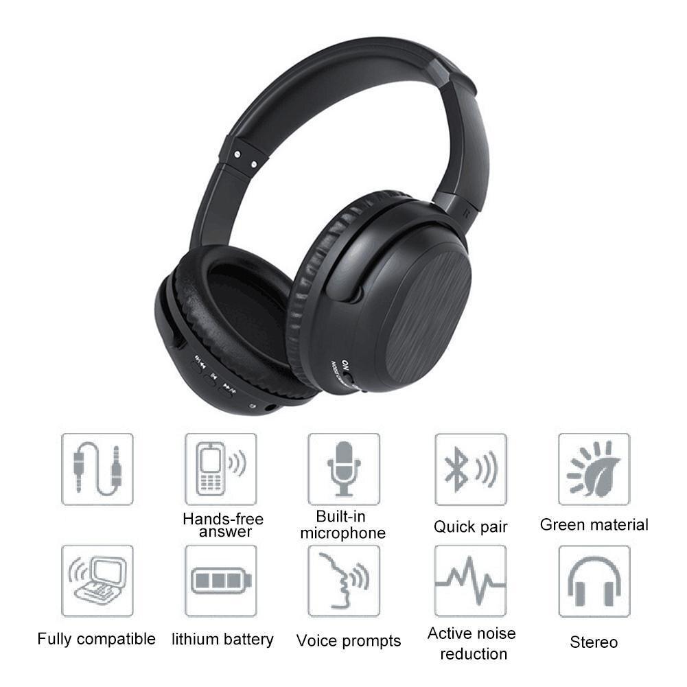 Активное шумоподавление, Bluetooth наушники с микрофоном, беспроводная стерео гарнитура, HiFi глубокий бас для работы, путешествия, ТВ, ПК, телефон - 4