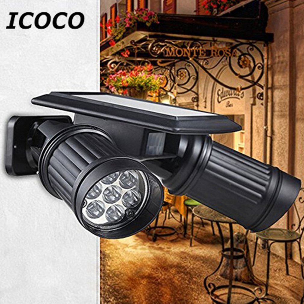 ICOCO Road Lamp Solar Powered LED Double Head Human Body Induction Motion Sensor Spotlight Wall Mounted Night Light Waterproof