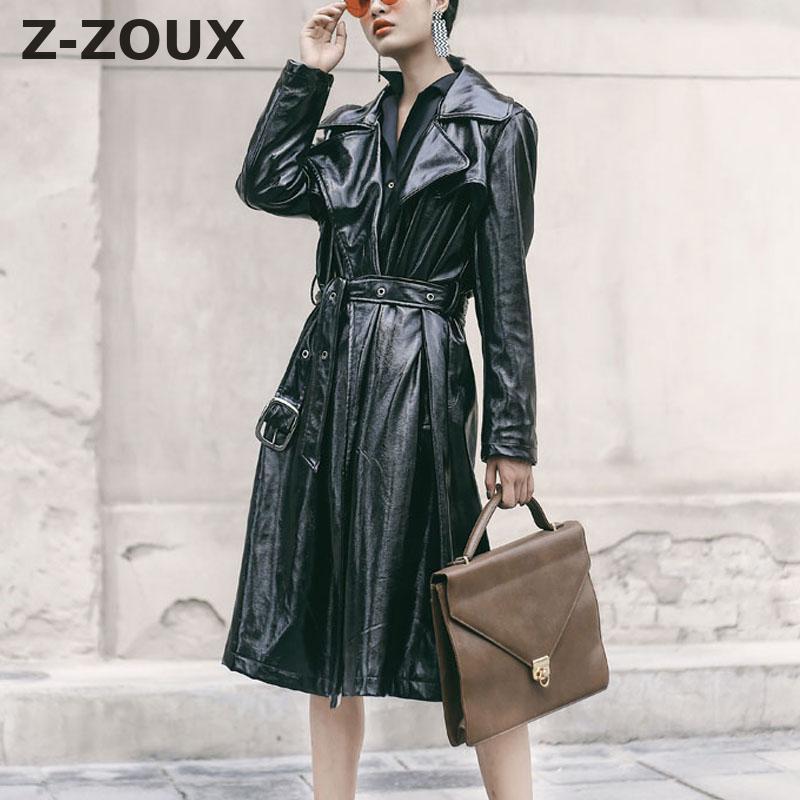 befe3d1deea Z-ZOUX Women Trench Coat Bright PU Leather Windbreaker Double Breasted Coat  Long Sleeve Female