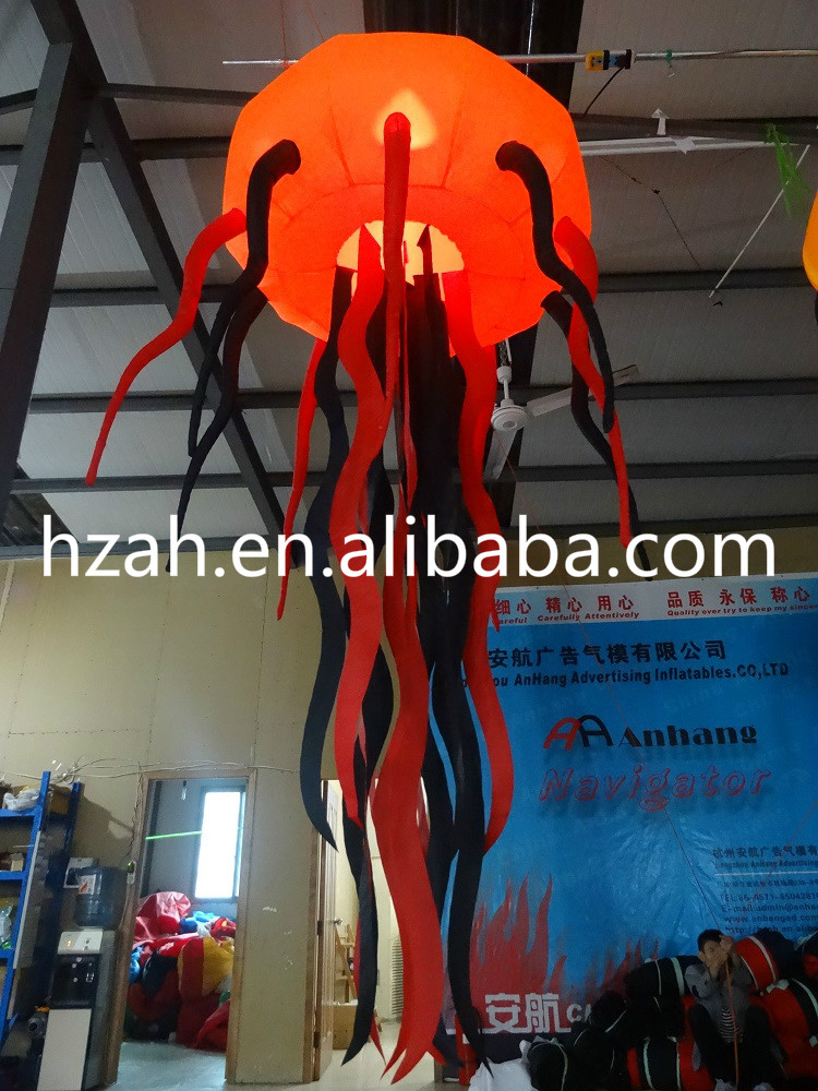 Orange Inflatable Jellyfish Balloon for Halloween Decoration home decoration lighted inflatable jellyfish