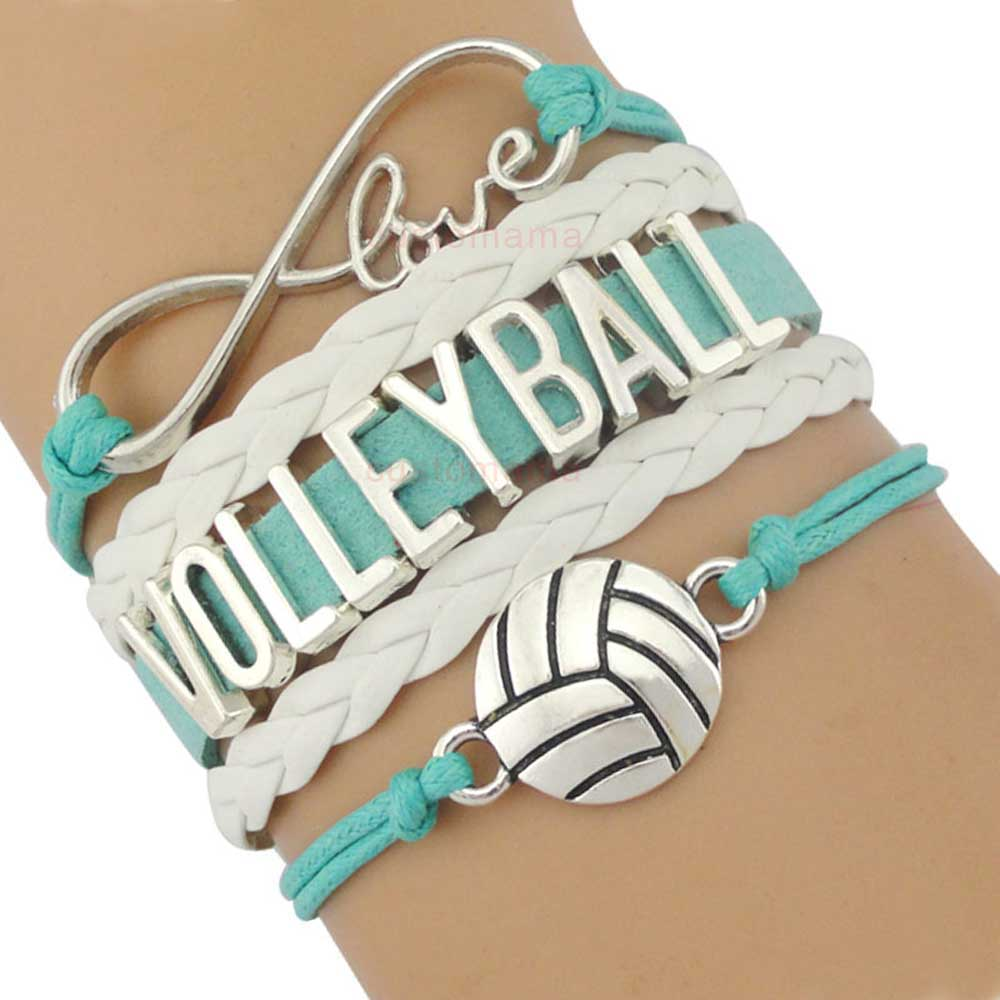 Volleyball Golf Sports Infinity Love Charm Bracelets Silver Royal Handmade Adjustable Jewelry Women Men Boy Drop Shipping Gift