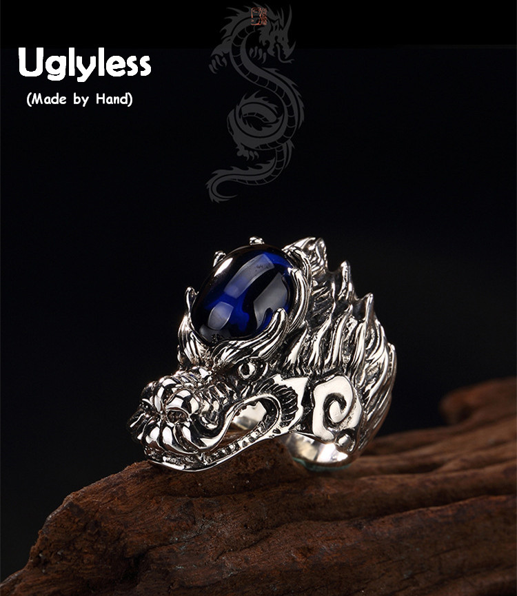 Uglyless Real S 925 Sterling Silver Natural Blue Chalcedony Men Rings Handmade Engraved Dragon Finger Ring Ancient Totem Jewelry faux ruby engraved fret finger ring