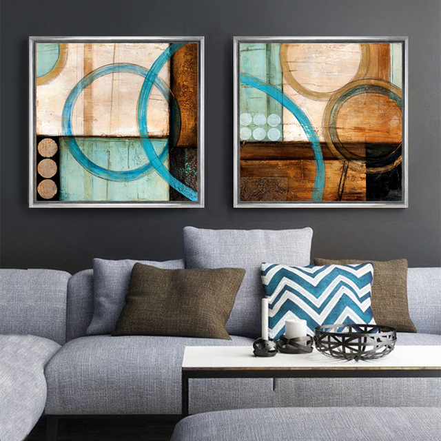 Blue and brown circles modern abstract oil painting canvas for Cuadros minimalistas modernos