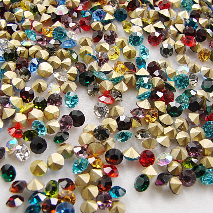 Mix colors~1440pcs/pack ss3~ss19 Round Crystal loose pointback rhinestones,Glass glue on nail art rhinestones unfoiled mix sizes 1440pcs crystal
