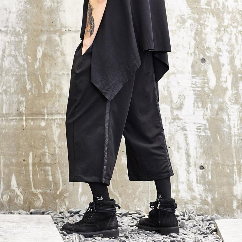 Hommes Mode Casual Pantalon Streetwear Hip Hop Lâche Foncé Noir Large Jambe Pantalon Mâle Japon Style Kimono Pantalon Joggeurs pantalons de Survêtement