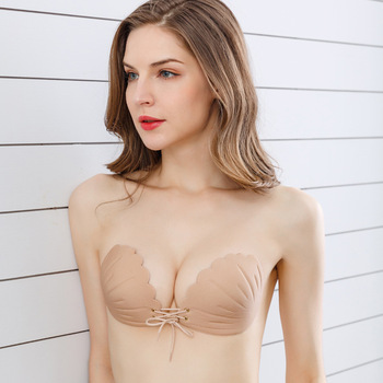 100 pcs / lot Adhesive Invisible Silicone Gel Bra Push Up Bra with Adjustable Transparent Straps for Women