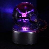 Popular 3D Greninja Pokemon Go Crystal Ball Engraving Round With Black Line Ball LED Light Base
