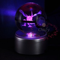 Popular 3D Greninja Pokemon Go Crystal Ball Engraving Round With Black Line Ball LED Light Base for Child Gifts