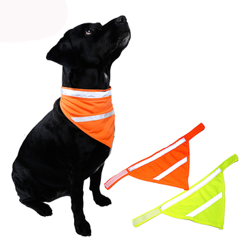 12pcs/lot High Visivility Safety Dog Scarf Pet Bandana with Reflecting Neon Color Dogs Cats Adjustable Designer Dog Collar