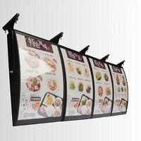(4 Graphics/column) Ceiling Hanging Menu Curved Led Light Boxes & Menu Backlit Display Signs for Restaurant Take away