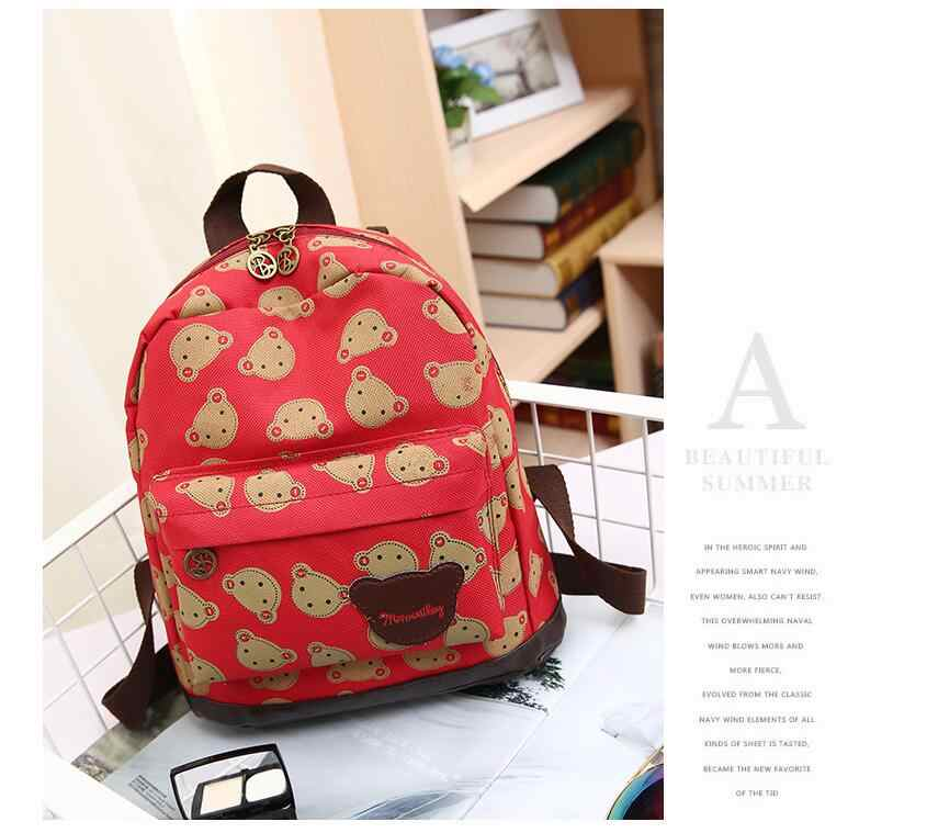 SCV 2019 Korean canvas printing bear cub kindergarten men and women children bag shoulders backpack