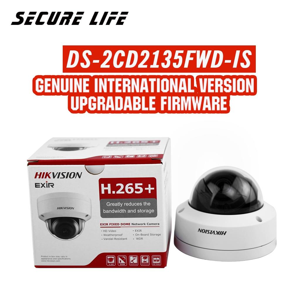 Versão inglês DS-2CD2135FWD-IS 3MP Ultra-Low Luz Rede mini Câmera dome IP CCTV POE cartão SD ÁUDIO H.265 +