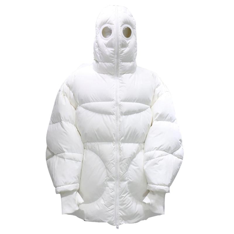 Cappotto di inverno Delle Donne Allentato Parka Pieno Viso Cap Con Cappuccio Spessa Parka Più Il Formato del Rivestimento delle Donne di Bianco Nero Divertente Personalità alien Cappotto - 2