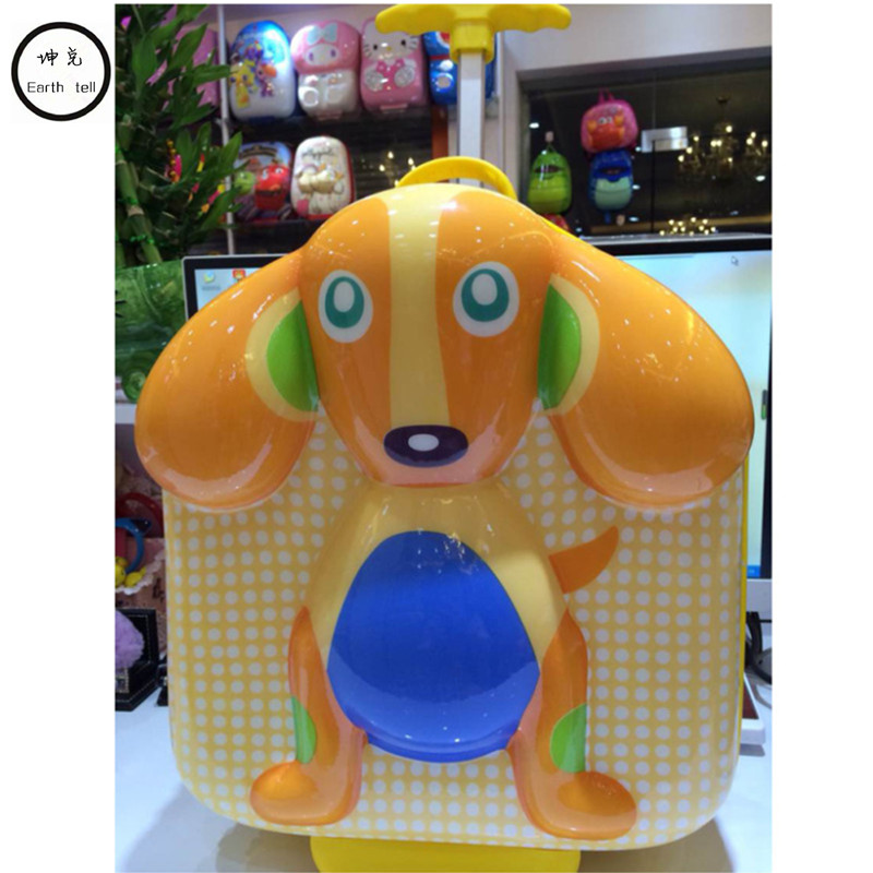 Lovely 3D Trolley School Bags for Girls Boy suitcase kids Book Bag Wheels Primary School Satchel Children Cartoon Travel Luggage