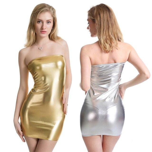 26cd18f250 2018 Summer Womens PU Faux Leather Mini Dress Solid Sexy Tight Dress Shiny  Night Club Strapless Dress