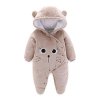 Winter Newborn Baby Romper Cartoon Hooded Infant Baby Clothes Cotton Warm Girls Coral Velvet Jumpsuit Toddler Baby Boy Clothing