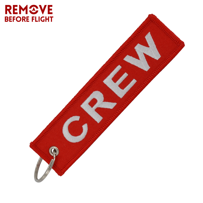 Fashion Jewelry Crew Keychain OEM Motorcycle Keychains Llaveros Luggage Tag Embroidery Crew Key Ring Chain For Aviation Gifts