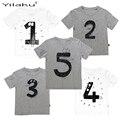 2017 Número Carta Meninos Impressão T shirt Para As Crianças Verão t-shirt Do Bebê Menino De Aniversário Engraçado Camisetas Crianças Meninos Casual Tops CG052
