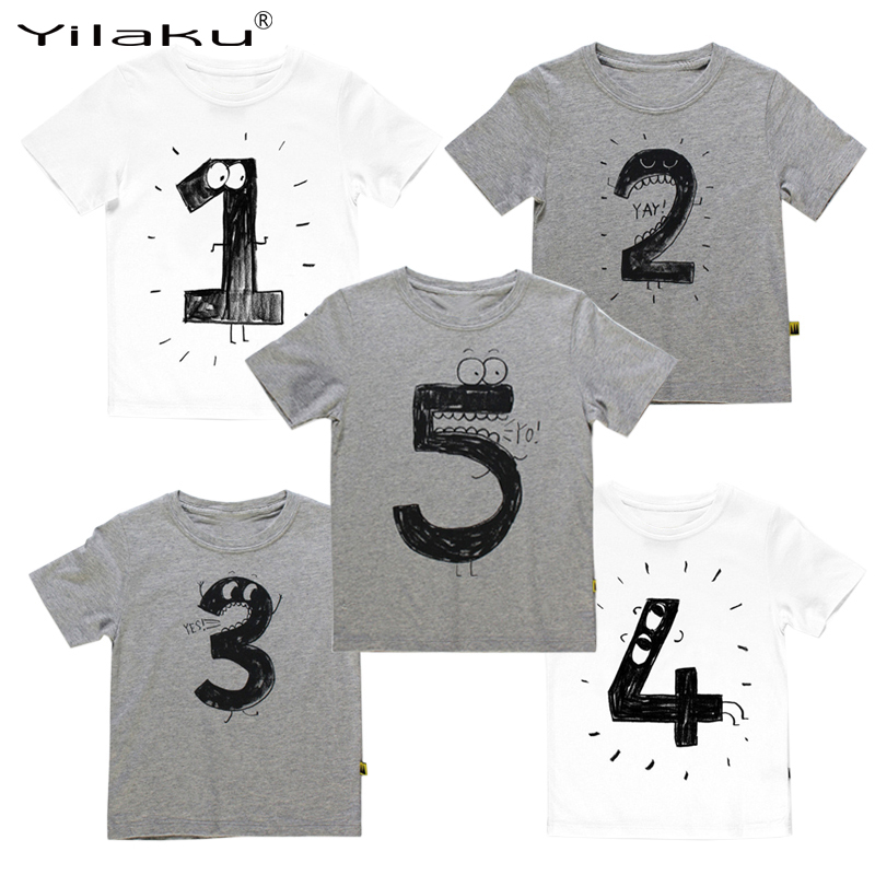 Yilaku Boys t Shirts 프린트 T 셔츠 Kids For Summer T- 셔츠 나이를위한 번호 Funny Birthday T-Shirts Kids Boys 캐주얼 탑 CG052