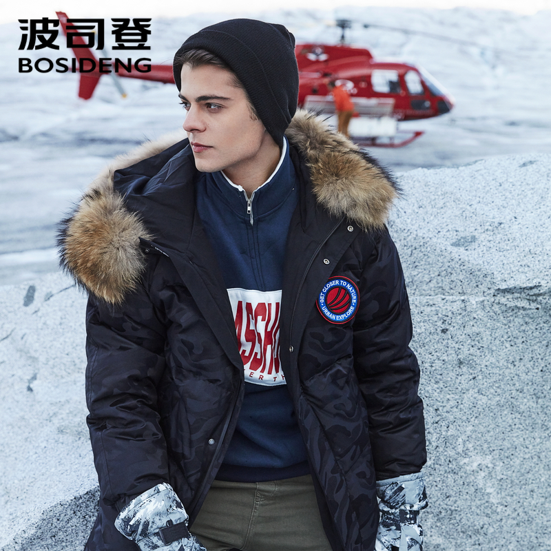 BOSIDENG 2018 NOUVEAU BLANC DUVET d'oie MANTEAU long DOWN veste pour hommes longue épaississent outwear réel fourrure neigeux jours étanche b80142153