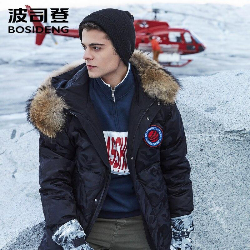 BOSIDENG 2018 nuevo ganso blanco abajo abrigo largo abajo chaqueta para hombres larga espesar prendas de piel real días de nieve impermeable b80142153