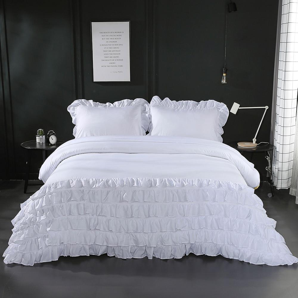 3 Pcs Pleated Lace White Duvet Cover Set US Queen King ...