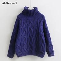 New Autumn Winter Woman Casual Cotton Knitted Sweater Fashion Turtleneck Loose Pullovers Female Knitwear Pull Femme Hiver