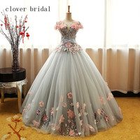 Grey Green Quinceanera Dresses Puffy Tulle With Pink Flowers Lace Prom Sweet 16 Dresses Ball Gowns
