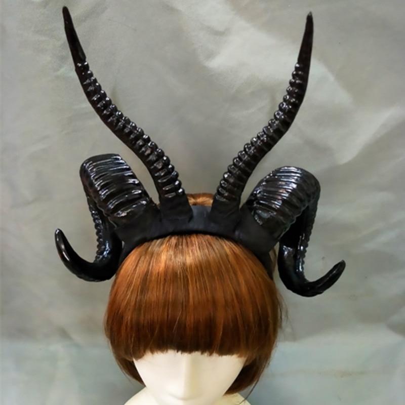 Hecho a mano Demon Evil cuerno diadema accesorios Gothic Lolita Cosplay prop Headwear Halloween negro/oro/plata color cuernos