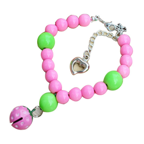 Wonder life Store Practical Boutique Coolfield 1 Pink plastic Dog Strawberry Bell Necklace Pet Collar XS S M L
