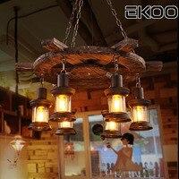 Экоо деревянный лодка руль люстра промышленного ретро свет бар чердак кафе