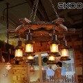 EKOO en bois bateau gouvernail lustre industriel rétro lumière Bar loft café Lustres     -